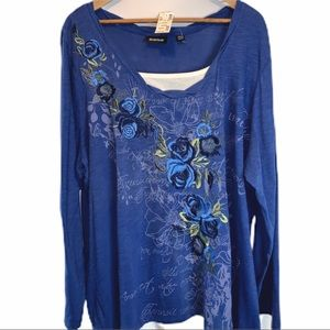 Avenue long sleeve tunic embroidered plus size